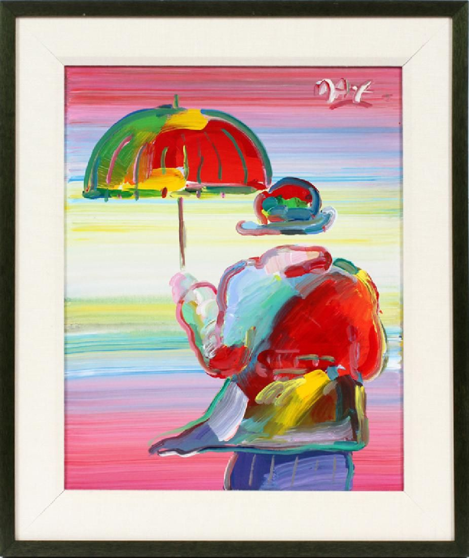 Peter Max (American, b. 1937), Umbrella Man, 1999, mixed