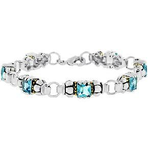 Antiquity The 2nd Bracelet by Icon Bijoux!  White Gold Rhodium and 14k Gold Bonded Link Style Bracelet with Princess Cut Aqua CZ and Lobster Clasp in Silvertone. Antiquity the 2nd is stylish and unique. Its design will stand the test of time. A con...