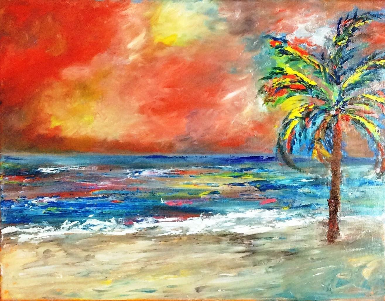 Palm Tree Beach - Art by Martha Stevenson, click on link to see her work.