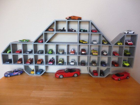 Children's Race Car Wood Display Shelf / Steel Gray Kids