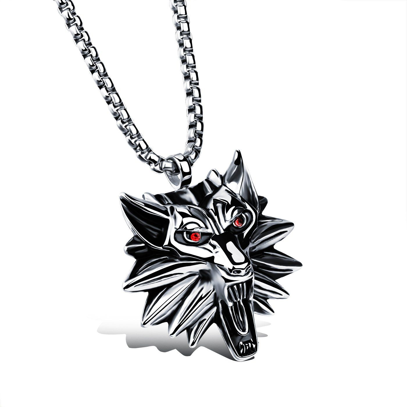 Fashion ahead stainless steel the witcher menus wolf head pendant