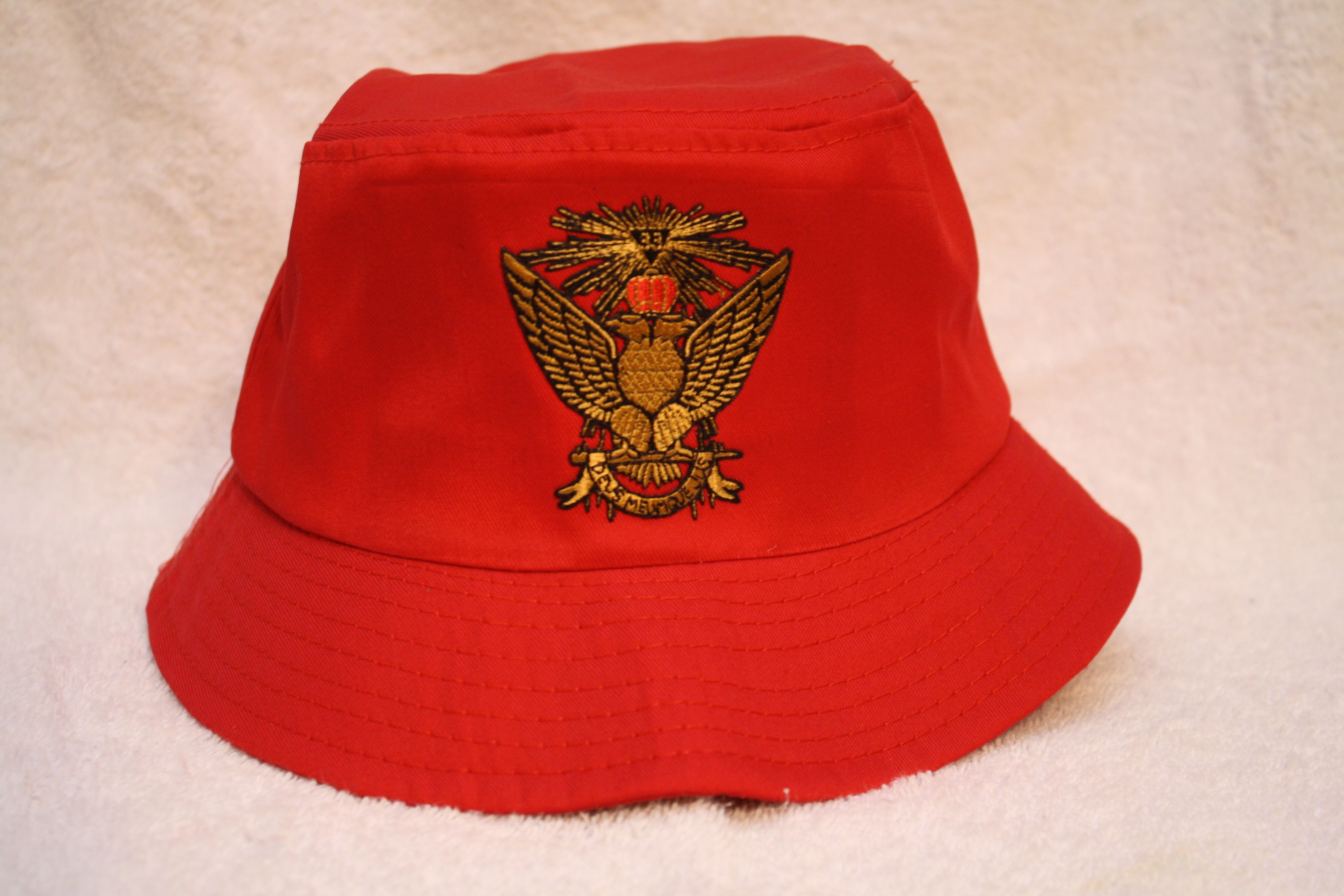 32nd & 33rd Degree Consistory Mason Wings Up bucket floppy hat with logo emblem
