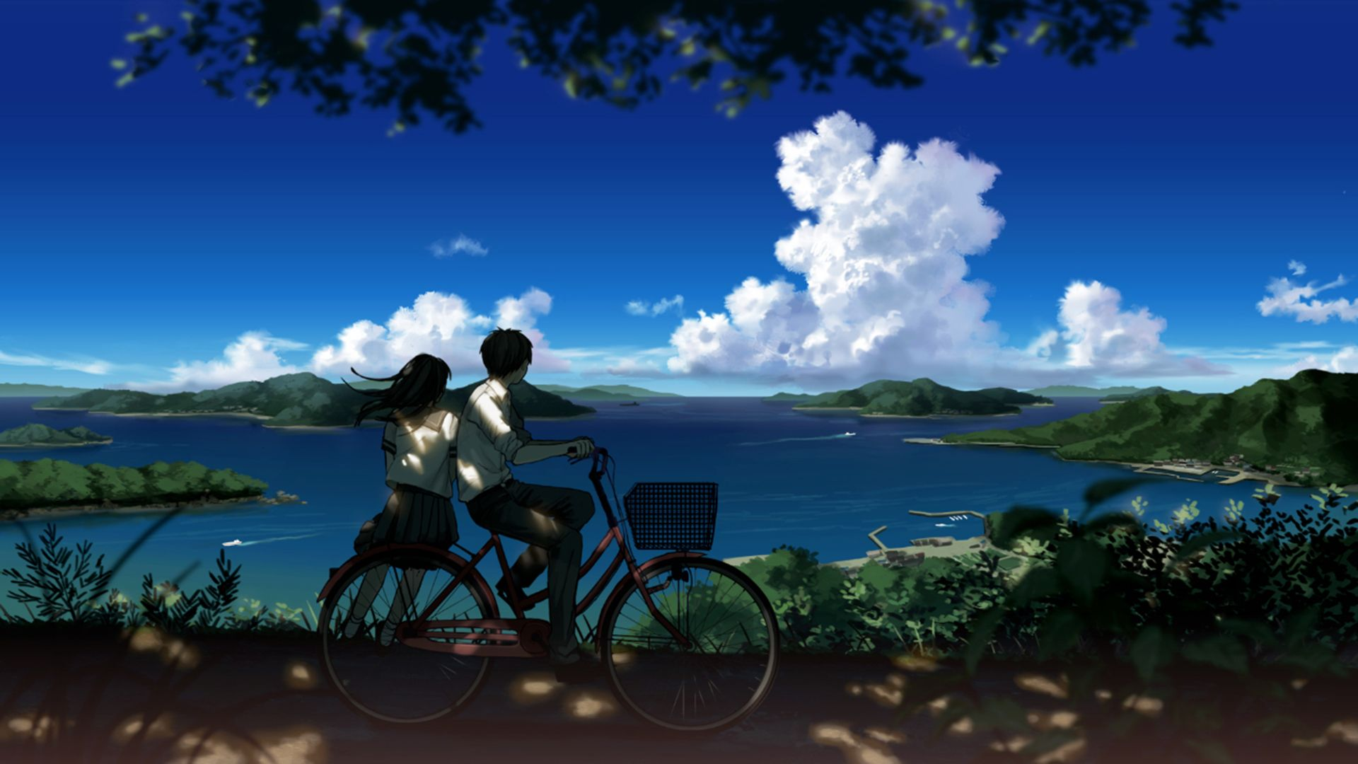 Boy And Girl Looking At Beautiful Landscape Hd Wallpaper 1920x1080 Id 44557 Anime Scenery Beautiful Landscape Pictures Anime Art Beautiful