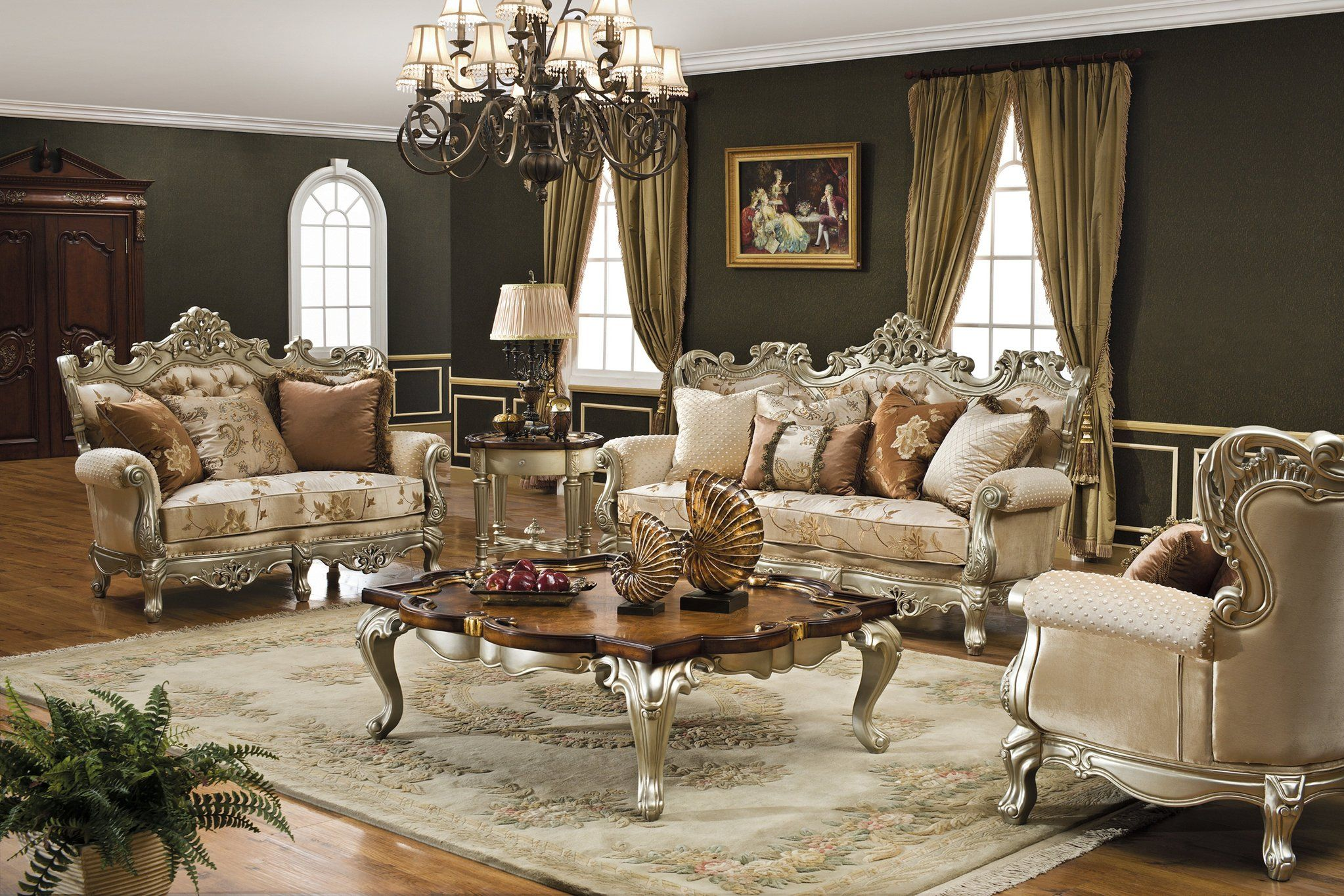 The Caesar Formal Living Room Collection In Antique Silver 12462