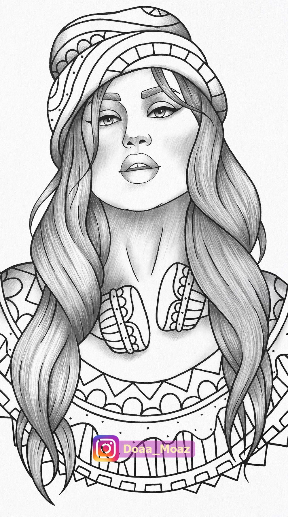 - Adult Coloring Page Girl Portrait With Headphones And Knitted Cap