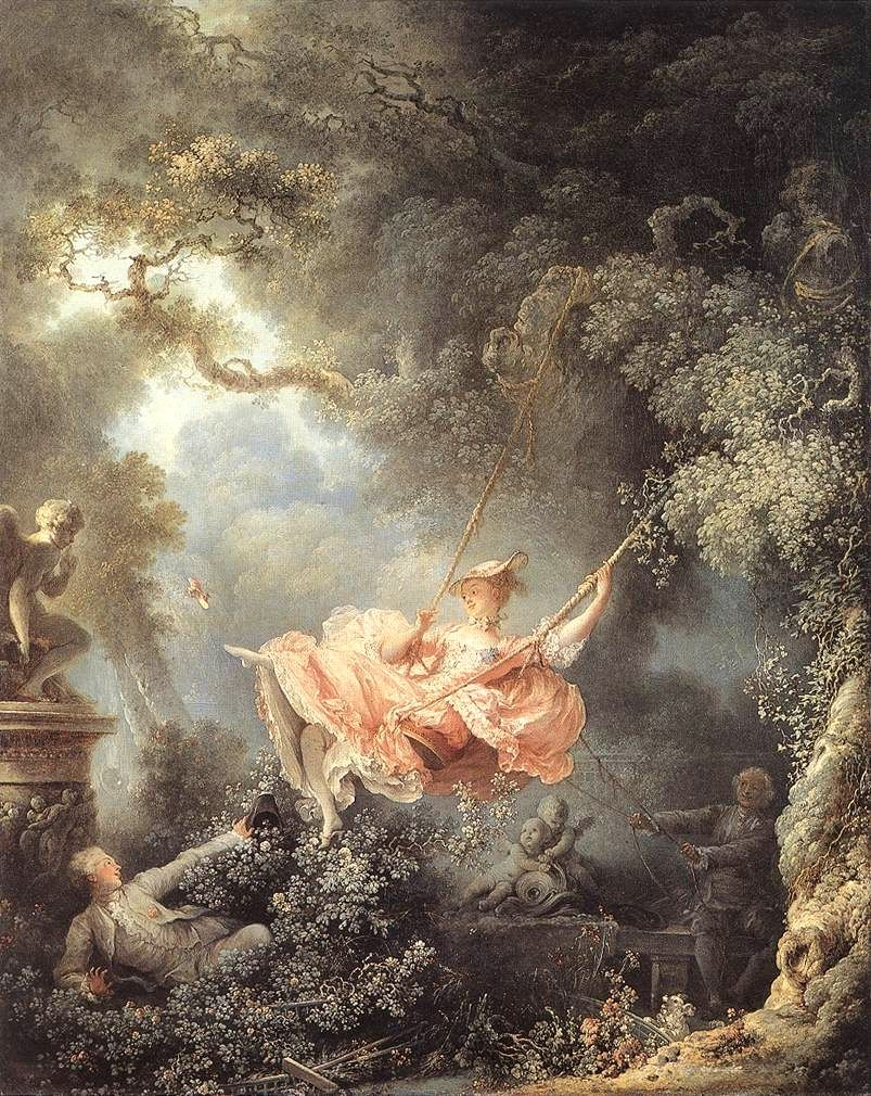 """Les hasards heureux de l'escarpolette"", by Jean-Honoré Fragonard, 1767,  oil on canvas."