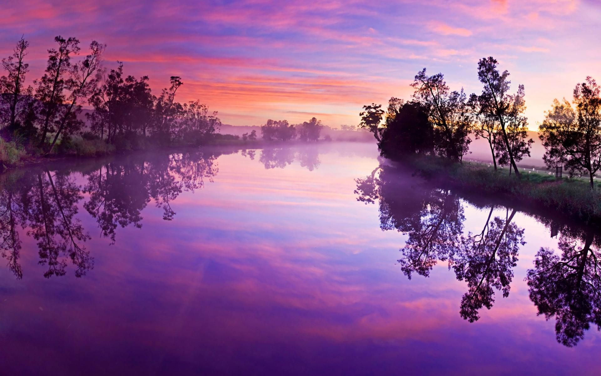 Early Fall Hd Wallpaper Sunrise Purple Wallpaper Background Sunset Scene Desktop
