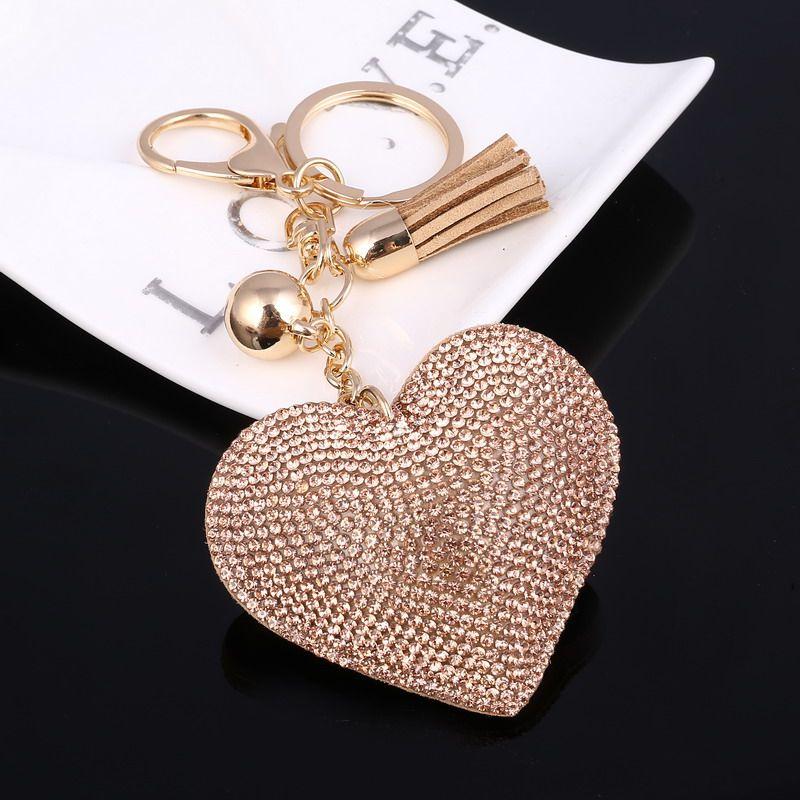 لطيف جلدية مفتاح سيارة حلقة رئيسية 6 ألوان القلب قلادة حجر الراين الاكسسوارات مفتاح غطاء المرأة Wholeslae الأسعار Crystal Purse Heart Keychain Keychain