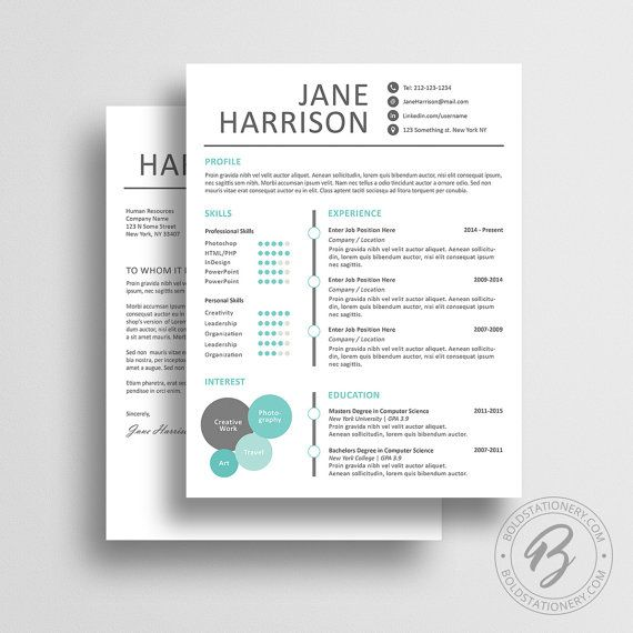 Creative Resume Template with Matching Cover Letter - Word Resume - cover letter designs