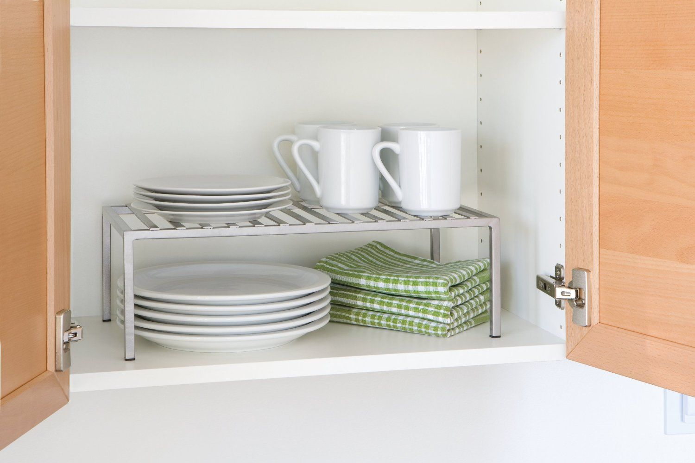 Kitchen Cabinet Stacking Shelf Tiny Bathroom Storage Space Saving Kitchen Kitchen Storage Space
