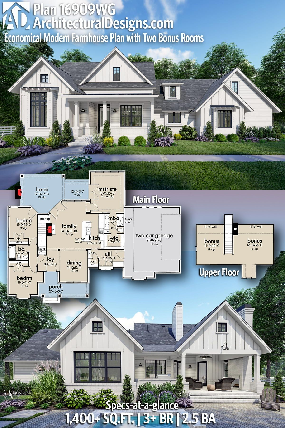 Plan 16909wg Economical Modern Farmhouse Plan With Two Bonus Rooms Modern Farmhouse Plans House Plans Farmhouse Modern House Plans