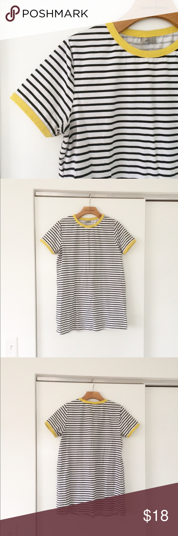 22103c6948 ASOS Black White Yellow Stripe Ringer Tee Shirt 6 Light wear w some minor  discoloration, good condition, looks great! See all pics ASOS Tops Tees -  Short ...