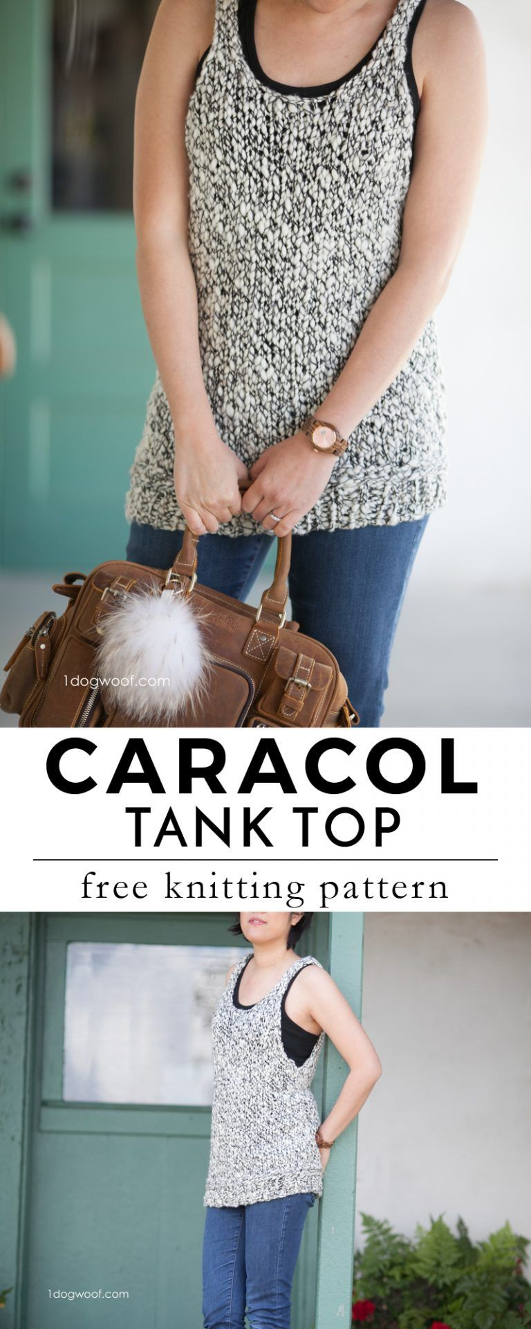 Caracol Tank Top Free Knitting Pattern by One Dog Woof