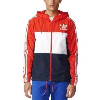 blau weiß rote adidas jacke