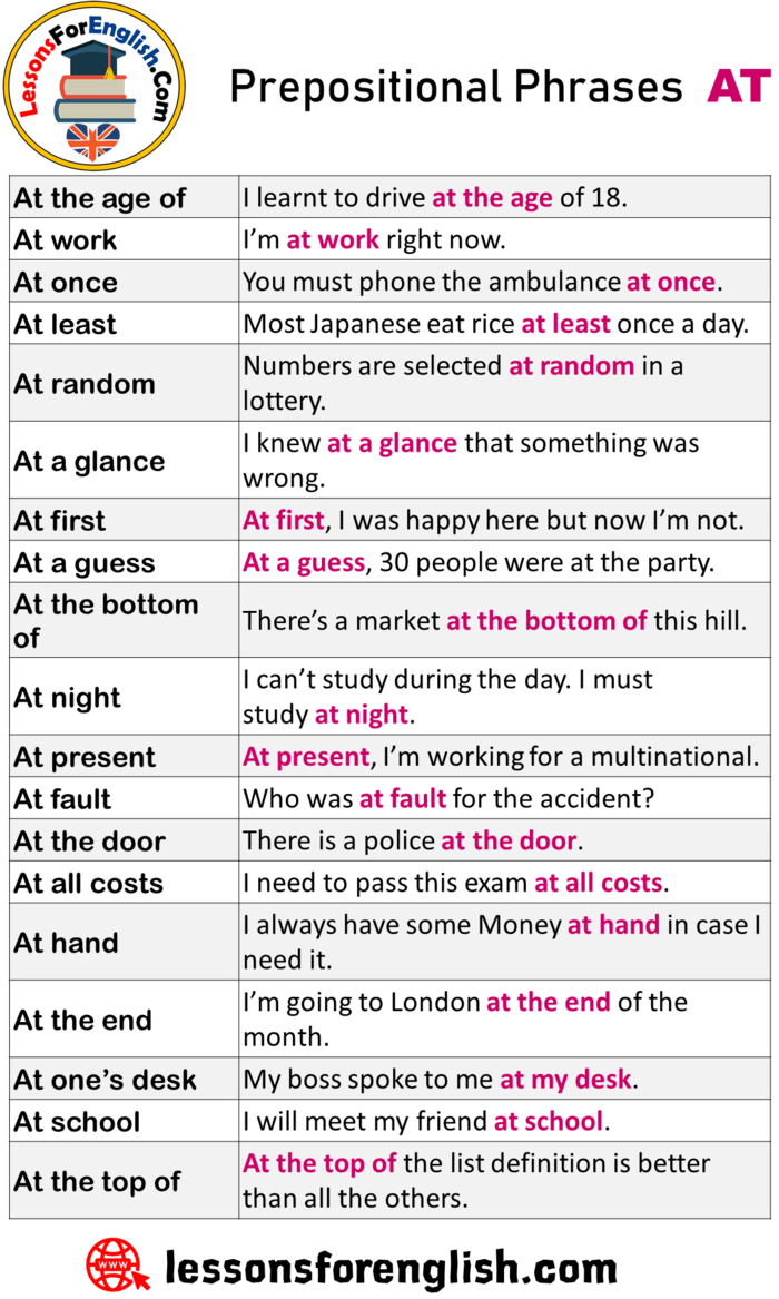 English Prepositional Phrases At Example Sentences At The Age Of I Learnt To Drive At The A Prepositional Phrases Learn English Words English Vocabulary Words [ 1167 x 700 Pixel ]