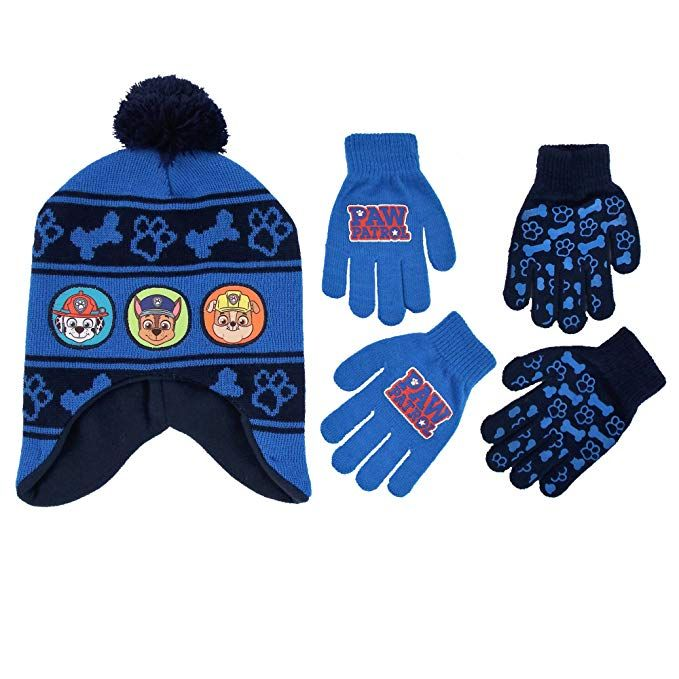 333e014b933 Nickelodeon Little Boys Paw Patrol Character Hat and 2 Pairs of Mittens or  Gloves Cold Weather