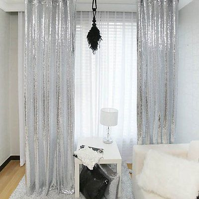 48108 Sparkly Silver Sequin Backdrop Curtain