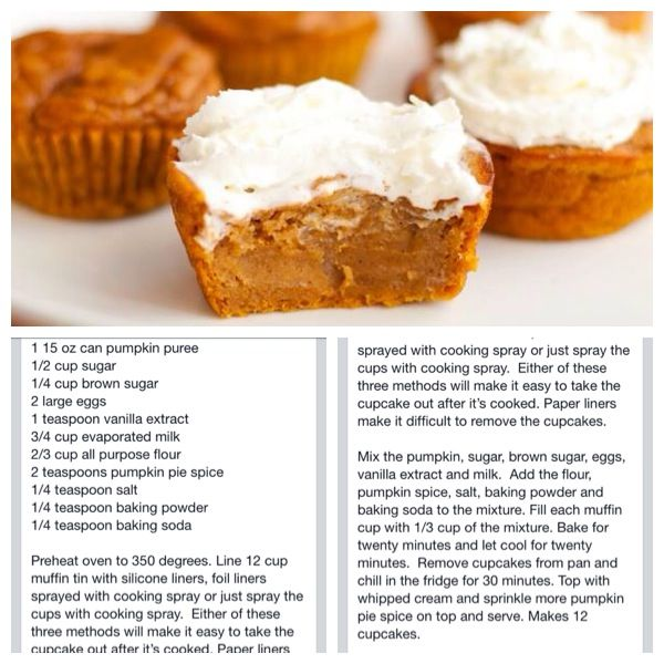 Pumpkin pie cupcakes - I bet these could be nicely remade with Vanilla #Shakeology (sans frosting)