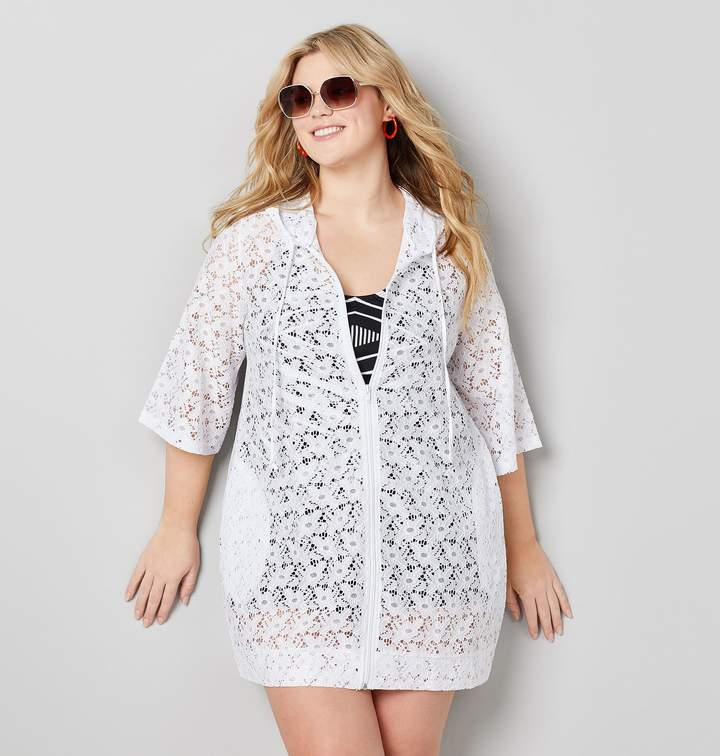 db5691a5c4 Avenue Plus Size Zippered Lace Swim Cover-Up In White in 2019 ...