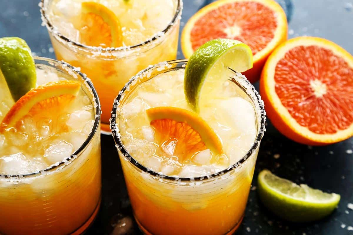 Orange Margarita Orange Margarita from  - A sunny orange margarita for celebrating the glorious citrus season. This margarita recipe is easy to make, with just a few ingredients. I like to use Cara Cara oranges, but blood oranges or bright and tangy naval oranges are great, too!
