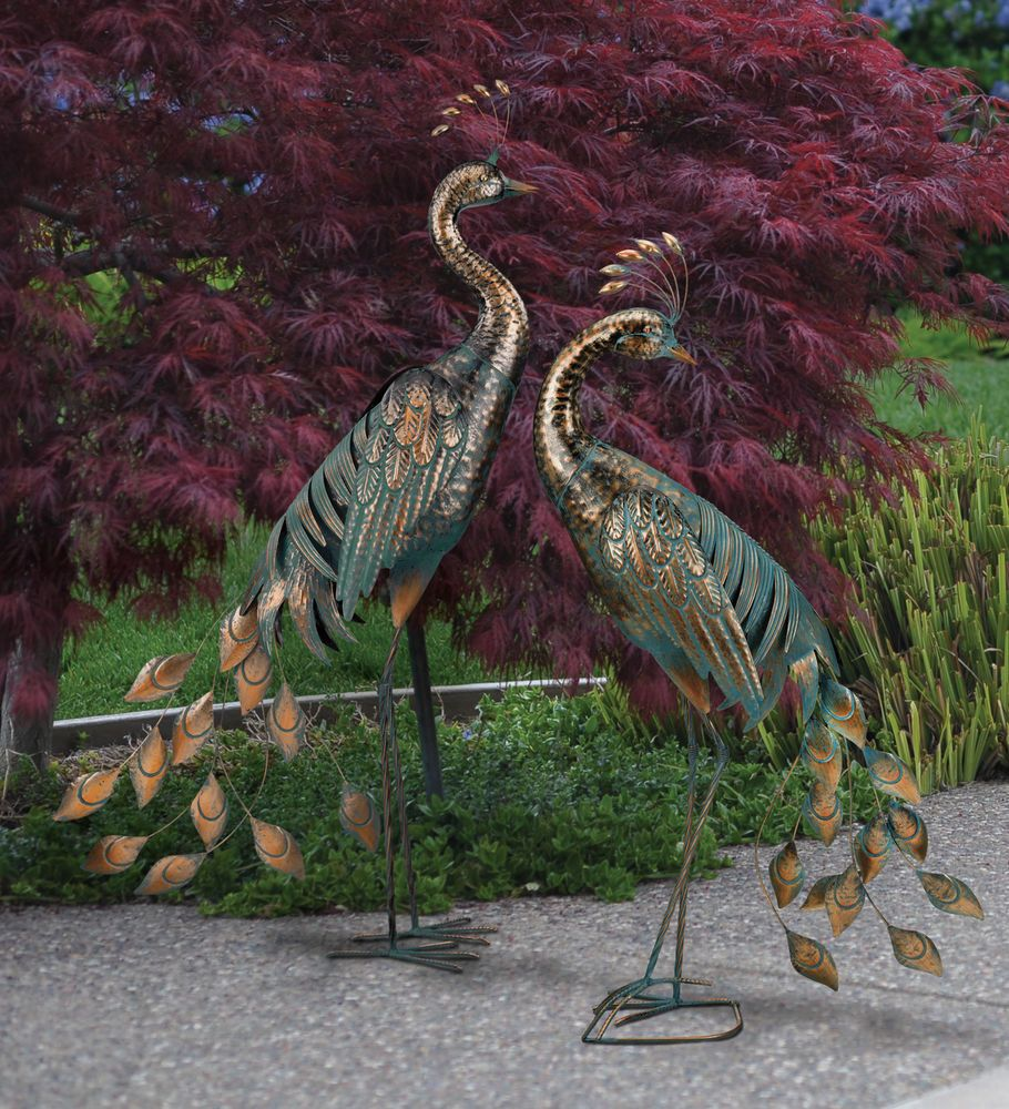 BIRD STATUARY   PATINA PEACOCKS   SET OF 2 REGAL ART U0026 GIFT 11306 11522.  Peacock DecorArt SculpturesPeacocksOutdoor ...