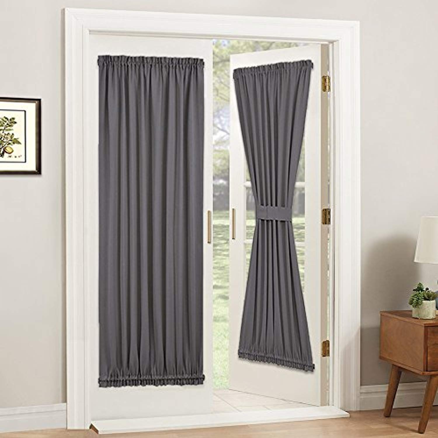 Pony Dance Gray Blackout French Door Curtain Thermal Insulated Rod