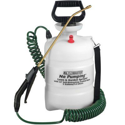2 Gallon No Pumping Sprayer by RL FloMaster. $23.95. Brass Wand; No Pumping Sprayer; 25 Foot Self Retracting Coiled Hose; Brass Nozzle. 2 gallon No Pumping Sprayer, It comes with a 25 foot self retracting hose, brass wand, and brass nozzle. Save 32% Off!