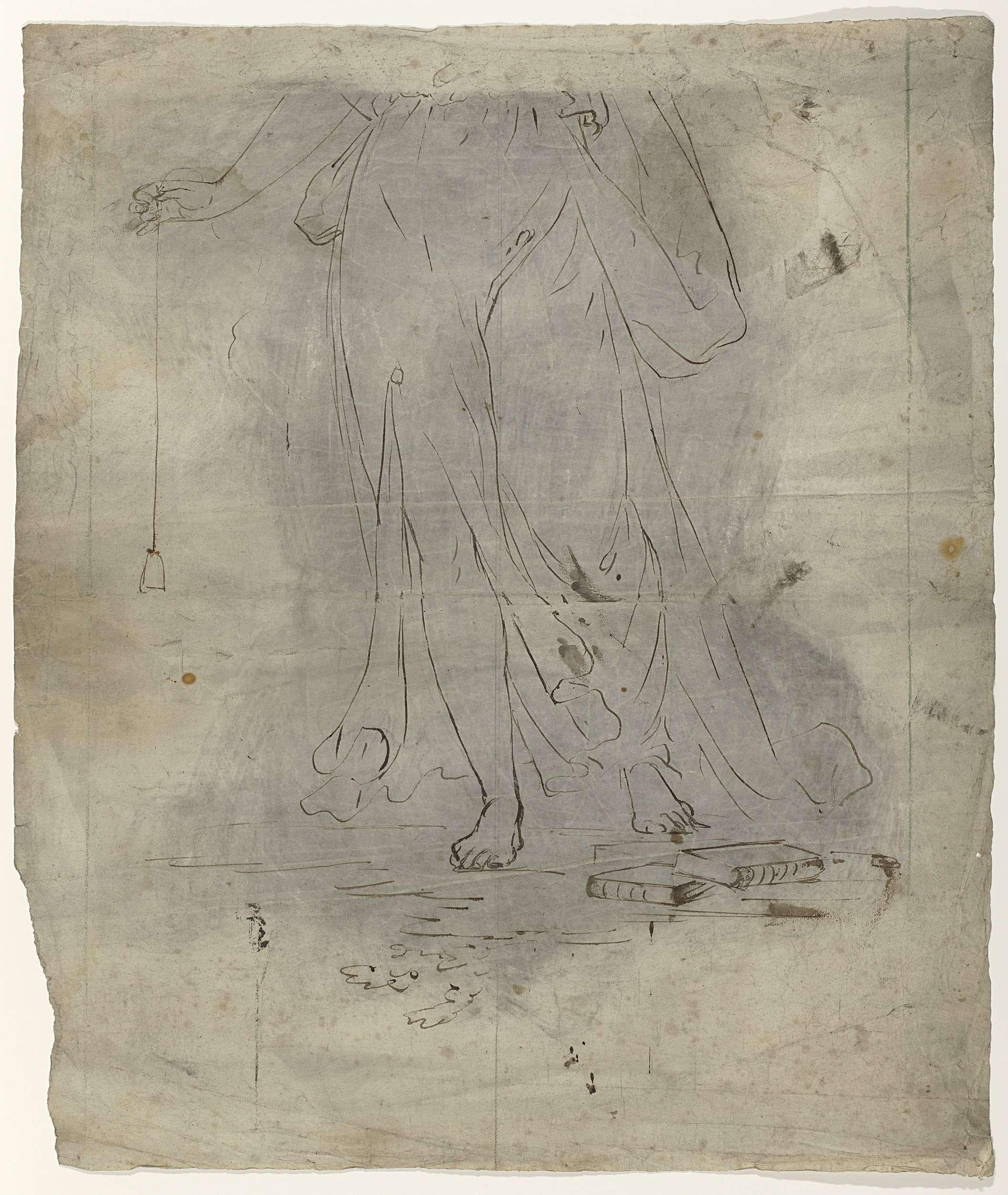 Abraham van Strij (I)   Gerechtigheid of Wetenschap, Abraham van Strij (I), 1763 - 1826   Allegorische figuur: Gerechtigheid of Wetenschap, met peillood en boeken, onderste helft van vrouw. Werktekening voor een schildering.