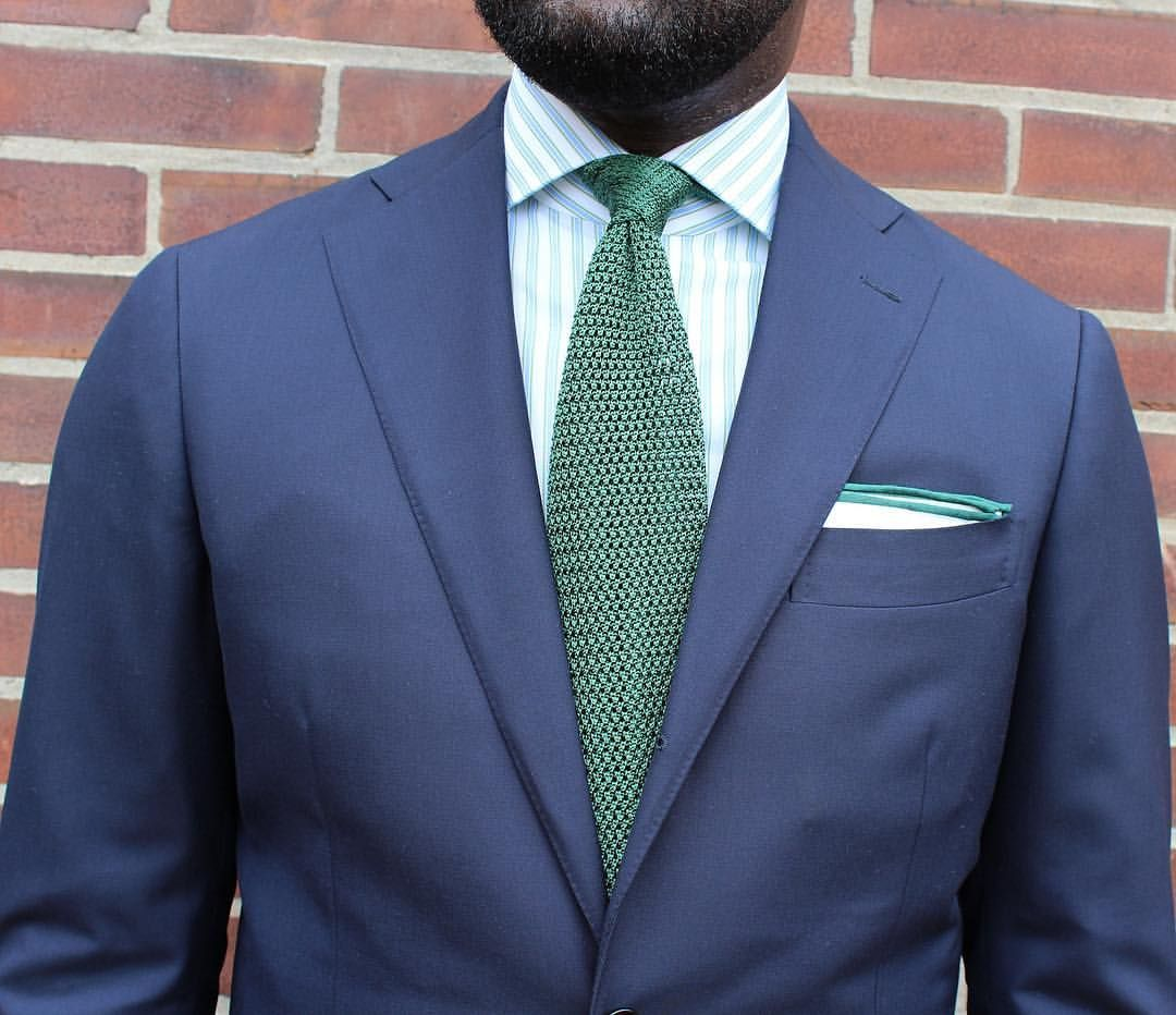 Navy Jacket White Shirt With Light Blue Awning Stripes Light Green Knit Tie Suit And Tie Blue Inspiration Knit Tie