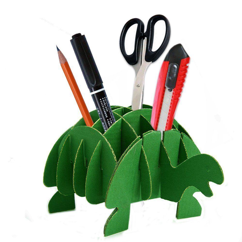 Paper Maker Diy Turtle Pen Pencil Holder Cute Desk Stationery