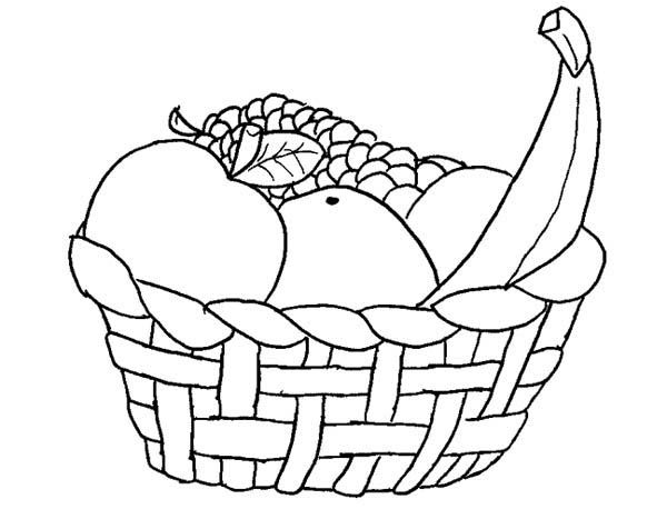 A Basket Of Fruits Coloring Page Fruit Coloring Pages Coloring