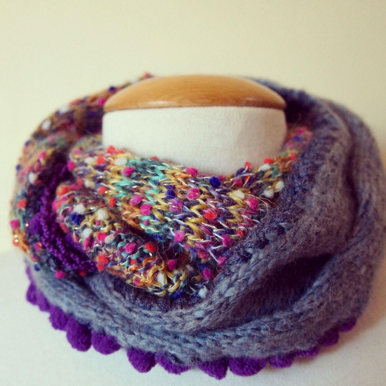 tricoter une echarpe avec 2 laines