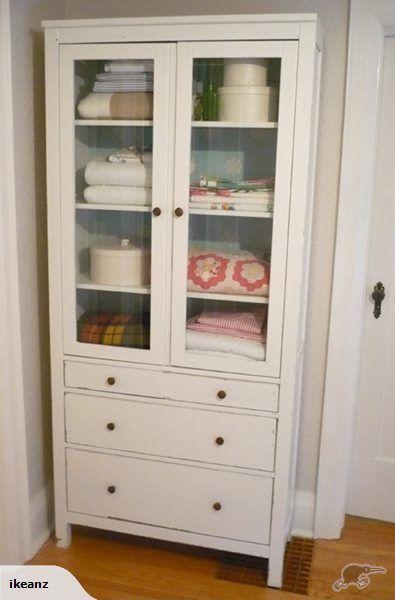 IKEA HEMNES Glass Door Cabinet 3 Drawers, White | Trade Me