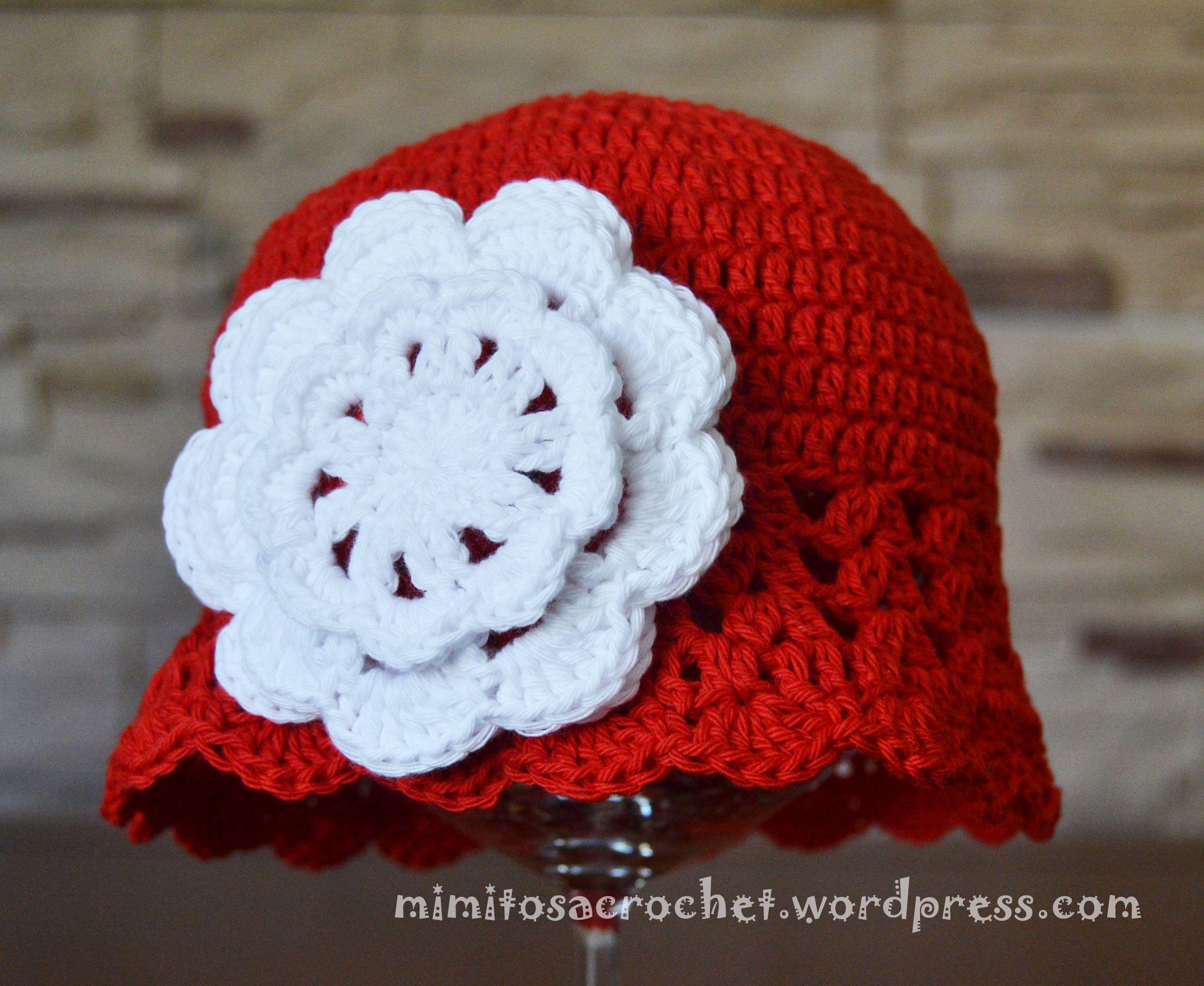 14cd679e9c923 Gorro Zoe rojo flor blanca - 1-3 anni