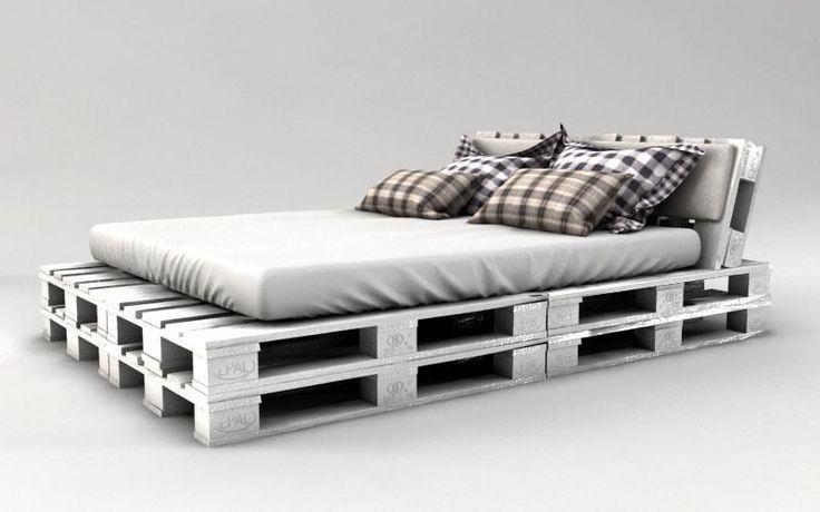 palettenbett bauen weiss streichen zimmer palettenbett bett aus paletten und europaletten bett. Black Bedroom Furniture Sets. Home Design Ideas