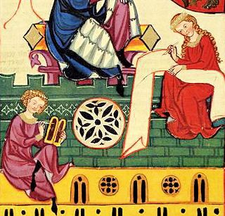 Schreiber describes a two-part wax tablet, called a diptych, and lady a scroll, illustration from the Codex Manesse, early 14th century.