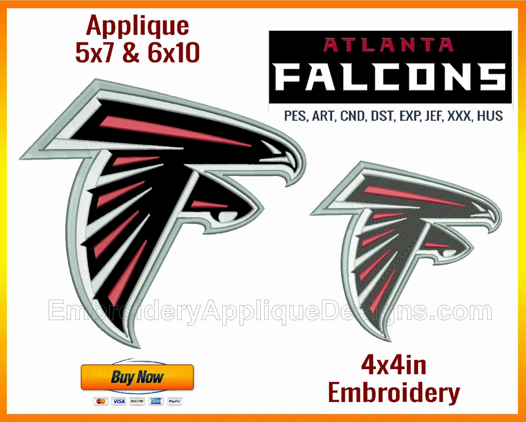 Atlanta Falcons Nfl Sports Team Logo Sizes Fitting 4x4in 5x7in And 6x10in Hoops Only On Embroidery Stock Designs Sports Team Logos Logos Hobbies For Men