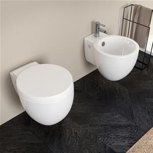 Sanitari sospesi Bloom in ceramica con sedile copri wc
