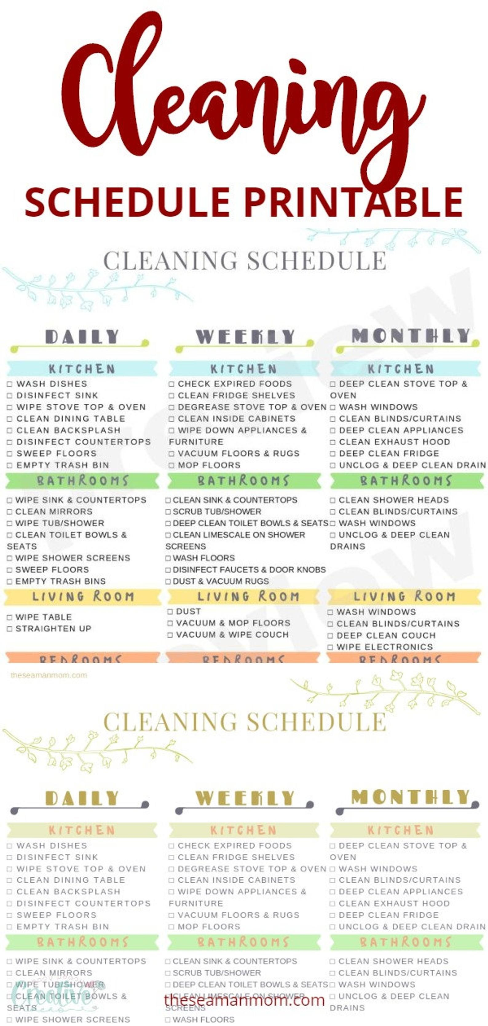 Printable cleaning schedule cleaning schedule printable   Etsy ...