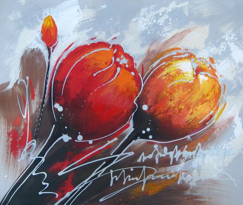 Peinture Moderne De Fleurs Tableau Peinture Fleurs Orange Et Rouge