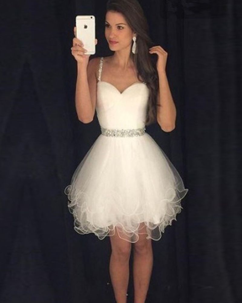 White Short Prom Dresses Sexy Beaded Prom Gowns 2016 Fast Shipping ...
