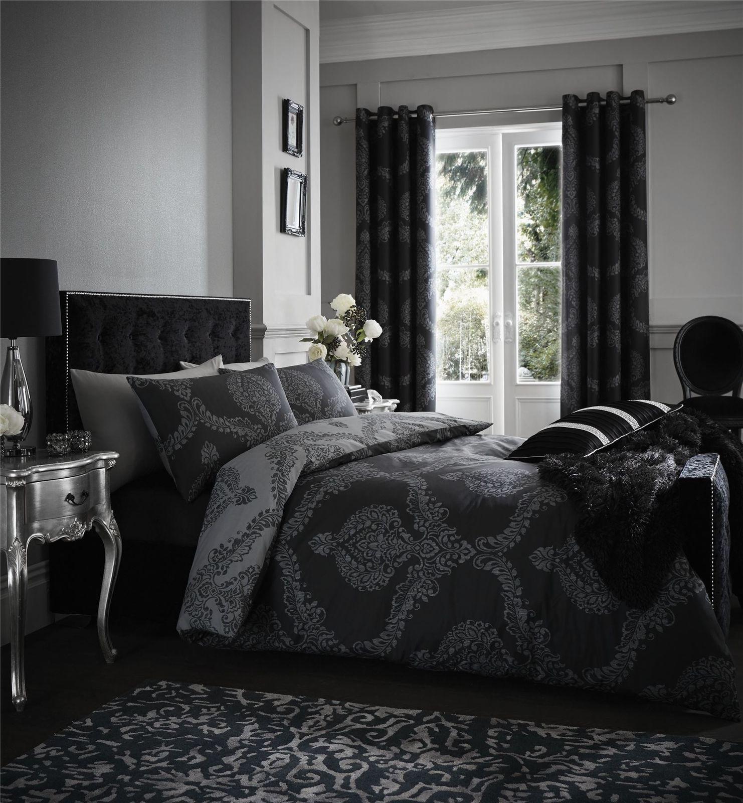 Damask black grey reversible cotton blend double duvet coveruring