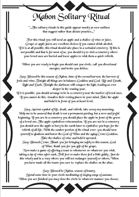 Mabon Solitary Ritual – Witches Of The Craft® | craft