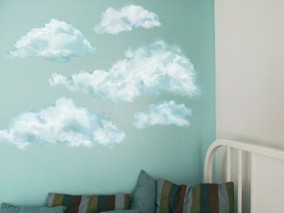 set of 5 blue clouds, nursery wall decals, not vinyl, watercolor