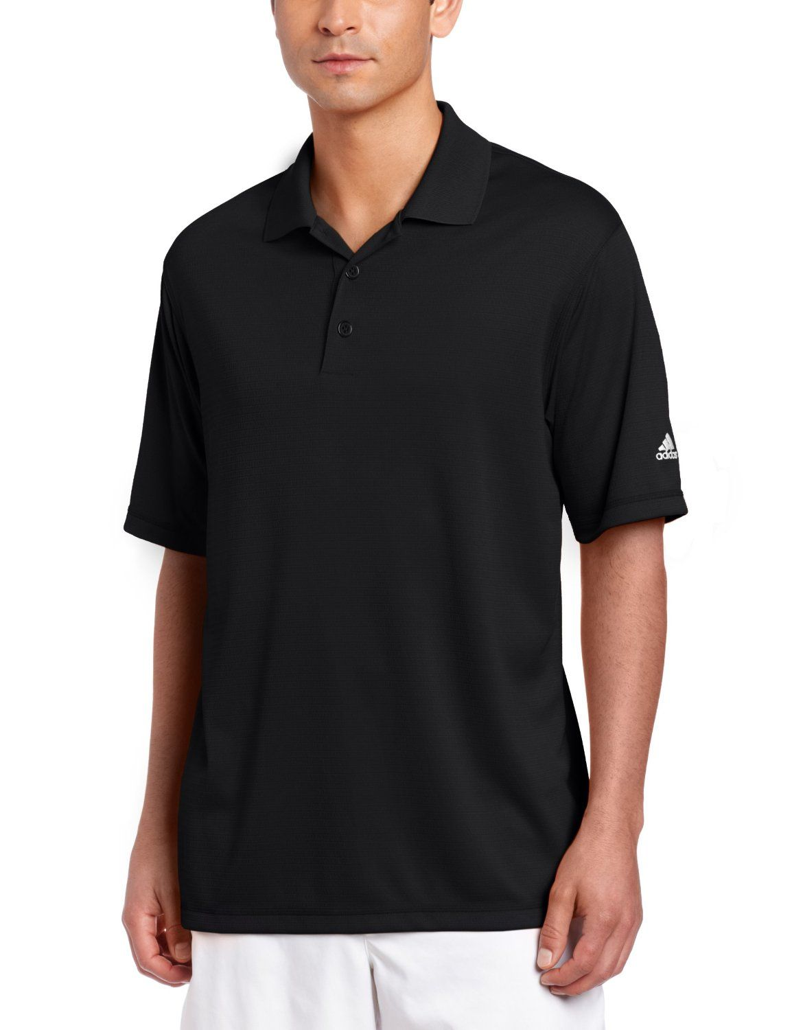 This comfortable and stylish mens Climalite solid golf polo shirt by Adidas  features a self collar