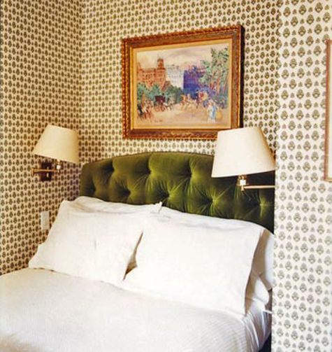 Green Velvet Tufted Headboard Originally From Domino Love The Wallpaper Too