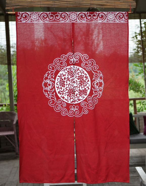 Etonnant 100% Hand Screen Print Eco Friendly Home Decor Cotton Linen Red Oriental  Door Curtain   ASIAN INSPIRED FASHION