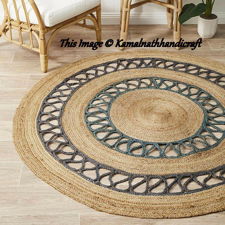 Handmade Jute Rag Rug Handwoven Braided Rug Carpet Floor Etsy Jute Round Rug Braided Rag Rugs Rag Rug