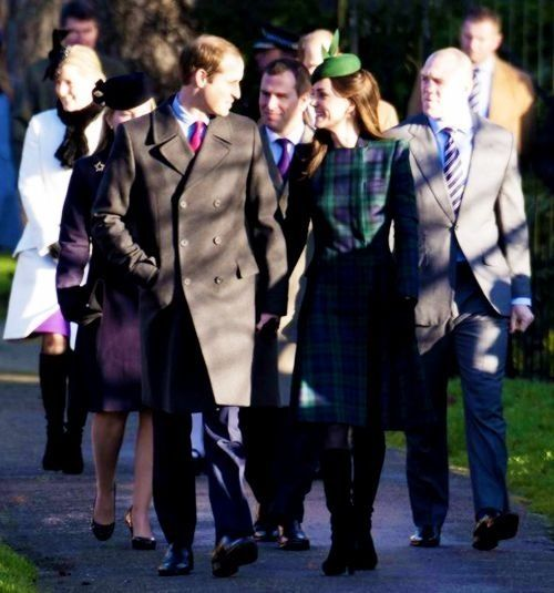 12/25/2013: Christmas Day service at The Church of St. Mary Magdalene, with Sophie, Countess of Wessex, Autumn Phillips, Prince William, Peter Phillips, & Mike Tindall (Sandringham, Norfolk)