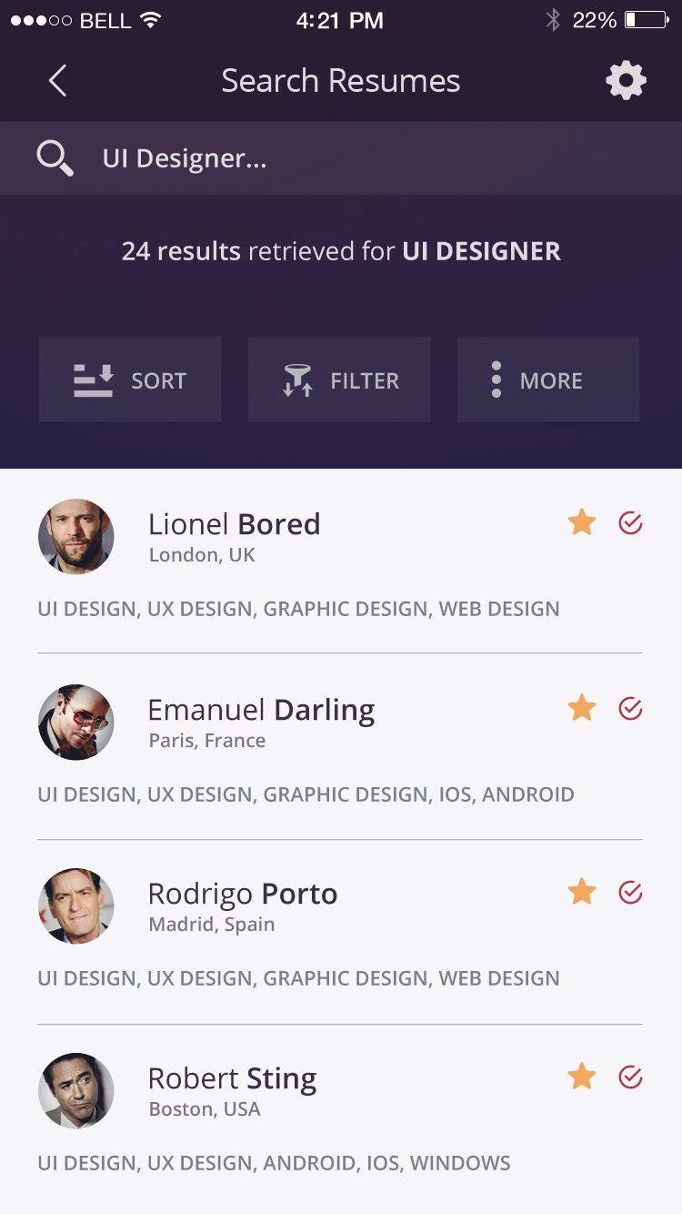 dribbble job board app iphone 6 resume ui design full mobile ui ue